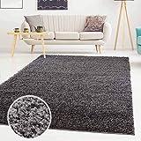 Carpet city ayshaggy Shaggy Teppich Hochflor Langflor Einfarbig Uni Dunkelgrau Weich Flauschig Wohnzimmer, Größe: 120 x 170 cm, 120 cm x 170 cm