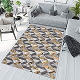 TAPISO Maya Alfombra de Salón Comedor Juvenil Diseño Moderno Amarillo Gris Blanco Geométrico Zigzag Delgada 140 x 200 cm
