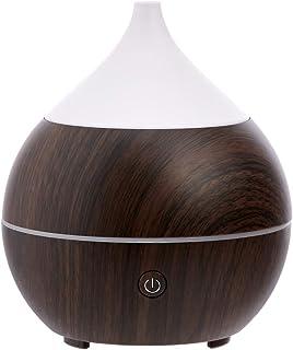 Amazon Basics 200ml Ultrasonic Aromatherapy Essential Oil Diffuser with Bluetooth Speaker, Dark Wood Finish Base