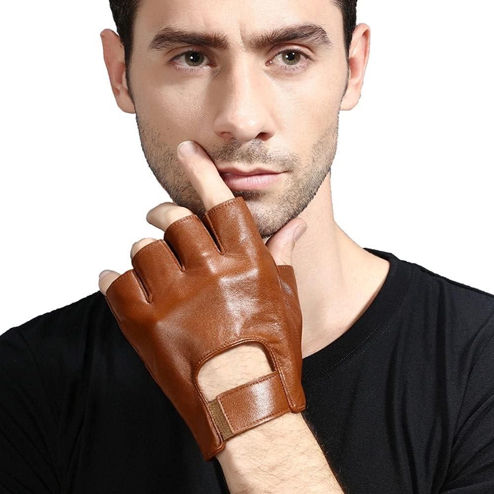 UimimiU Men's Non-Slip Fingerless Leather Gloves Sheepskin Summer Sports Breathable Half Finger Gloves Car Driving Thin Slip Wearable Breathable Motorcycle Black Brown Mitten