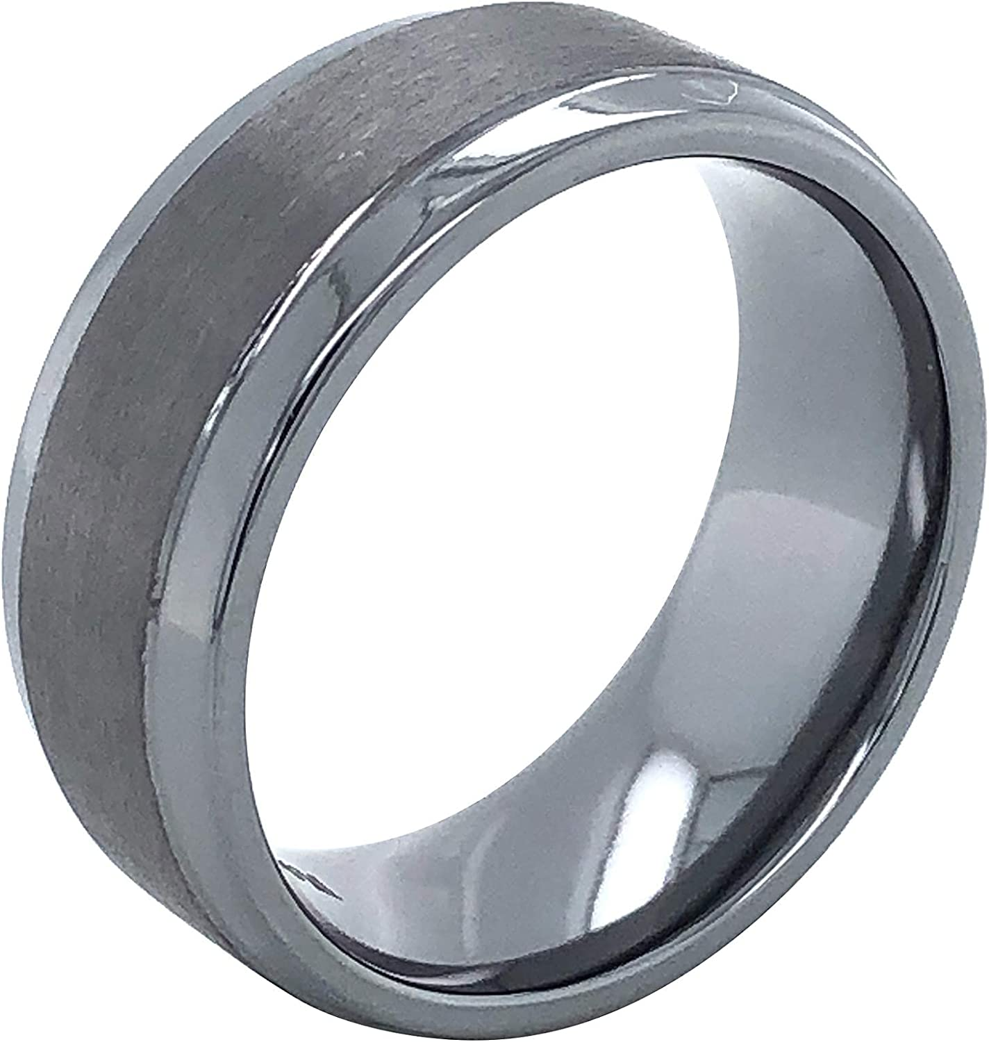 Tantalum 8mm Wide Dual Finish Flat Profile Men's Comfort-Fit Wedding Band Ring with Brushed Matte Center and High-Polish Edges