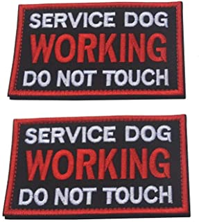 Ultrafun Service Dog Hook & Loop Fastening Tape Patch Pet Harness Vest - 2 X 3 Inches - Set of 2 (BK-Working)