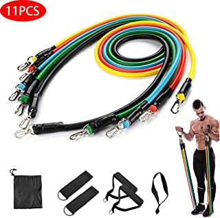 RHFITNESS Resistance Bands Set, Exercise Bands Workout Ropes 11pcs 100lb with Carrying Bag for Women & Men Home Gym for Yo...