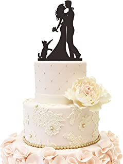 Wedding Anniverary Cake Topper couple Bride Groom Family with a cat (Black)
