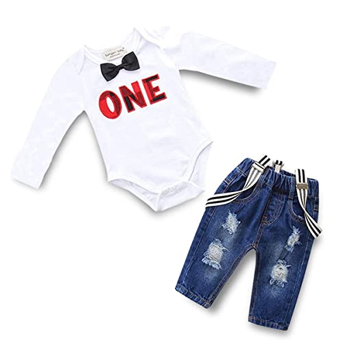 1f4e1ac95bb Toddler Baby Boy Clothes Set Bowtie Romper Suspenders Ripped Denim Pants  Outfits