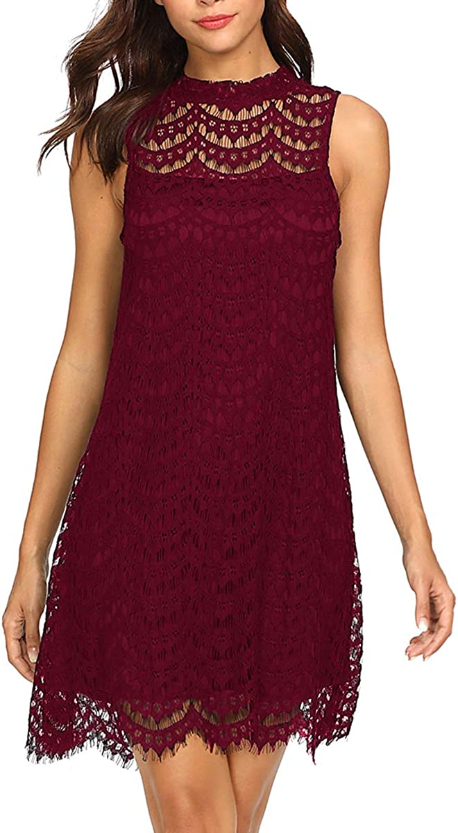 Romwe Women's Lace Sleeveless A Line Elegant Cocktail Evening Party Dress