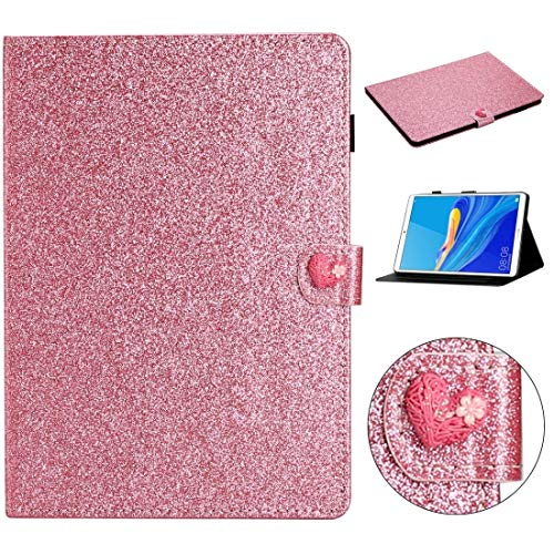 Tablet PC Accessories Compatible for Huawei MediaPad M6 8.4 Glitter Powder Love Buckle Horizontal Flip Leather Case with Holder & Card Slots Tablet PC Cases (Color : Pink)