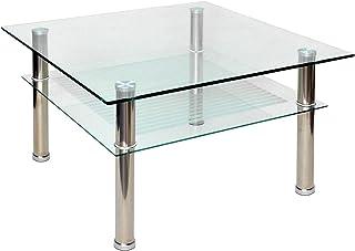 ts-ideen - Mesa auxiliar (cristal y acero inoxidable, 70&