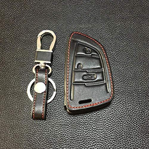 YUAAZ Funda para Llavero De Coche Cubierta De La Carcasa De La Llave del Coche De Cuero con Control Remoto De 3 Botones, para BMW 1 2 5 Series 218I F48 X1 X5 X6 F15