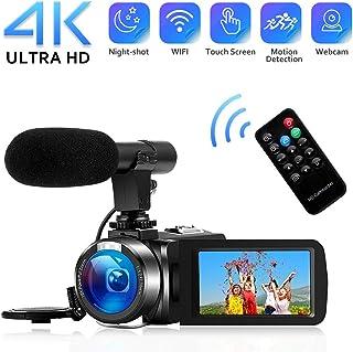 Videocámara 4K Cámara de Video WiFi Videocamara con micrófono Full HD 1080P 30FPS Cámara Vlog de Pantalla Táctil de 3HD para Youtube con Visión Nocturna por Infrarrojos y Control Remoto