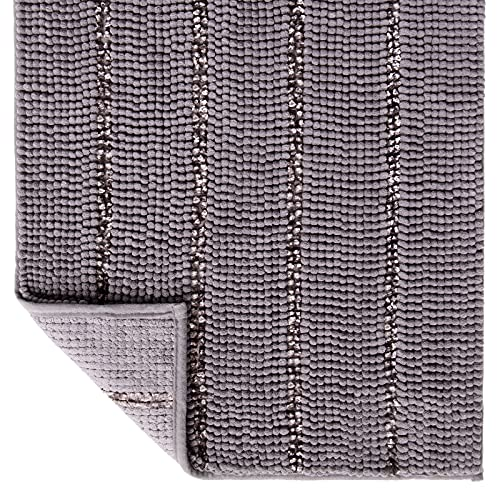 Tayis Alfombras de baño Antideslizantes y Absorbentes Alfombrillas de baño Chenilla Gruesas Extra Suaves Lavable para Baño Ducha Cocina, 50x80 cm, Gris