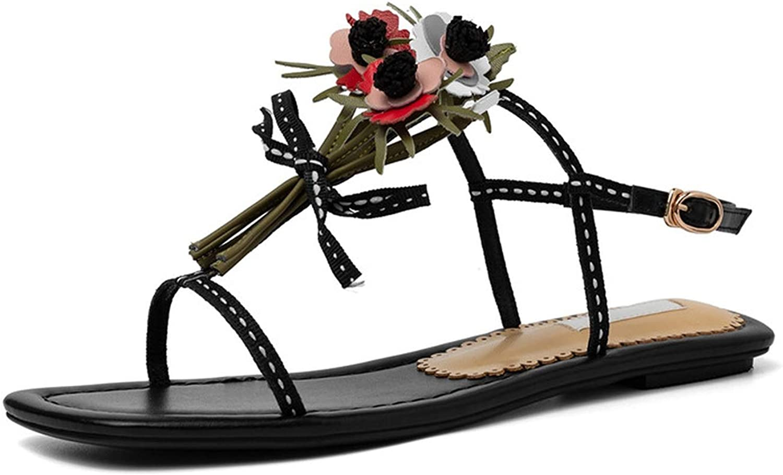 Girl21 Genuine Leather Flower Women Sandals Sweet Buckle Unique Beach shoes Woman Flat shoes