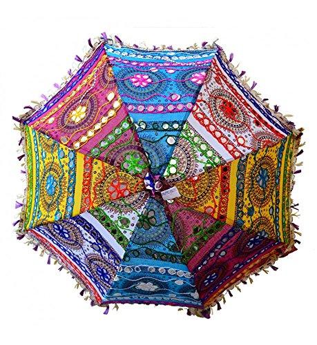 indische Handgemachter Designer Baumwolle Spiegel Arbeit Stickerei Sonnenschirm UV-Schutz Regenschirm, Sonnenschirm, Stickerei Boho Sonnenschirm indischen Hochzeit Regenschirme Sonnenschirm