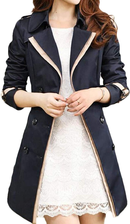 Nanquan Women Lapel Mid Length Windbreaker Slim DoubleBreasted Trench Coat