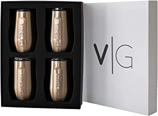 Vinglacé Stemless Wine Glass | Stainless Steel Outside, Glass Inside | Includes Spill Proof Lid | Double Walled, Vacuum Insulated | For Hot & Cold Beverage | Holds up to 10 oz | Set of 4 | Copper