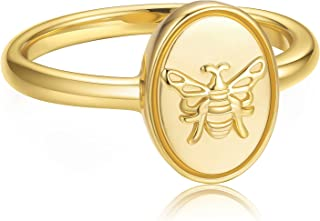 JINEAR 14k Gold Plated Bee Statement Ring for Women and Girls Handmade Gold Oval Signet Ring Stacking Band Gift for Her