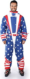 Tipsy Elves Men's American Flag USA Ski Suit - Stars and Stripes Patriotic Retro Ski Suit
