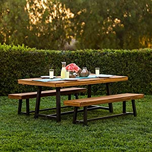 This rectangular picnic table can seat up to 6 people comfortably and is perfect for spending time with family and friends The strong and durable Acacia wood construction provides a beautiful and exotic aesthetic in addition to superior weather resis...