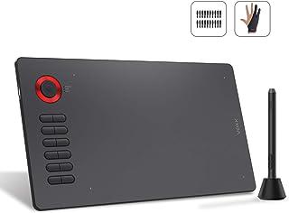 VEIKK テレワーク 、テレ授業、Android6.0以上端末機能対応可能 ホイール を搭載傾き8192レベル検知 充電不要ペン 上位モデル板タブA15pro (red)