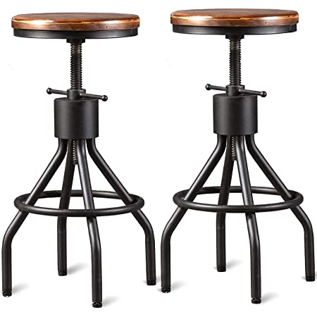 Industrial Bar Stool-Set of 2-Swivel Counter Coffee Chair-Extra Pub Height Adjustable 22-33 inch