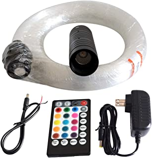 LED Fiber Optic Star Ceiling Light Kit for Car or Room 6W RGB with Music Mode Remote Controller 300 Strands 0.75mm/0.03in 2m/6.5ft Star Headliner Kits