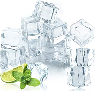 Qiuttnqn 50 Pcs 20MM Reusable Plastic Ice Cubes,Clear Acrylic Fake Ice Cubes,Artificial Square Crystal Fake Ice Cubes for ...