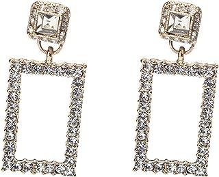 18K Gold Plated Elegant AAA Cubic Zirconia White Rhinestones Rectangle Charm Tassel Drop Stud Earrings