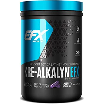 EFX Kre-Alkalyn | PH Correct Creatine Monohydrate | Patented Formula, Gain Strength, Build Muscle & Enhance Performance - 400 Capsules / 200 Servings