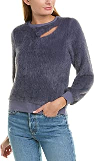 J.O.A. Womens Faux Fur Sweatshirt with Cut Out Detail