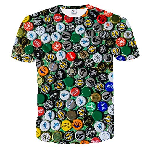 Neue 3D-Wasser-Tropfen-Digital Printing Short Sleeve-Paar-T-Shirt Männer Sommer-T-Shirt-zufällige Spitze Kansa (Color : TX-239, Size : 4XL)