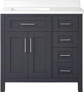Ove Decors Tahoe 36 in. Single Sink Freestanding Bathroom Vanity with Countertop and Backsplash, 36 inches, Dark Charcoal