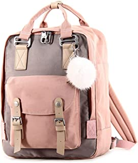 Tong Fashion Large-Capacity Ladies Backpack Canvas for Travel Outing Shopping (Color : Pink)