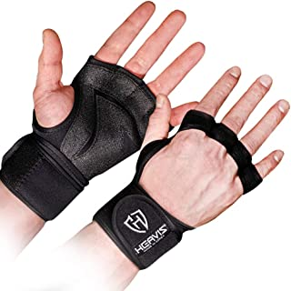 HEAVIS All Premium Neoprene Ventilated Weight Lifting Gloves with Built-in Wrist Wraps for Men & Women. Great for Wrist Support, Workout, Pull ups, Cross Fit, Fitness. with Non Slip Palm pad. (2019)