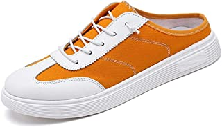 Shangruiqi Fashion Sneakers for Men Walking Skate Shoes Casual Lace Up Backless Round Toe Canvas Anti-Slip Wear Resistant Anti-Wear (Color : Yellow, Size : 8 UK)