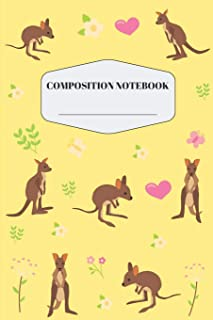 Joey Baby Kangaroo Composition Notebook: Cute Yellow Kangaroo Notebook for Elementary and Middle School Pretty Australian ...