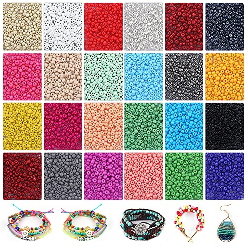 Seed Beads Kit 6240pcs 3mm Small Pony Beads Set in 24 Colors Opaque Bulk Colorful Beads for Kids Crafts Bracelets Necklaces Key Chains Rings Jewelry Making with 2 Rolls of Elastic String