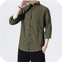 Lady night Hanfu Costume Men Shirt Long Sleeve Solid Casual Streetwear Men Shirt Man Cotton Linen Shirt