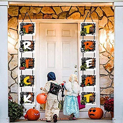 WELLXUNK® Banner Halloween Decorazione, Halloween Portico Decorazioni, Halloween Trick Or Treat Decorazioni, Decorazioni Halloween Outdoor Indoor, per Cancello, Giardino, Festa in Casa