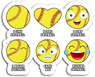 Hand Wooden Customizable Sticker Softball Emoji I Like Emoticon Social Stickers for Personalize (3 pcs/Pack)