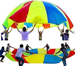 WUYEA Juguete para Actividades de Grupo de paracaídas Rainbow Umbrella Parachute Juguete de Desarrollo Infantil y Deportivo para niños, Interiores y Exteriores