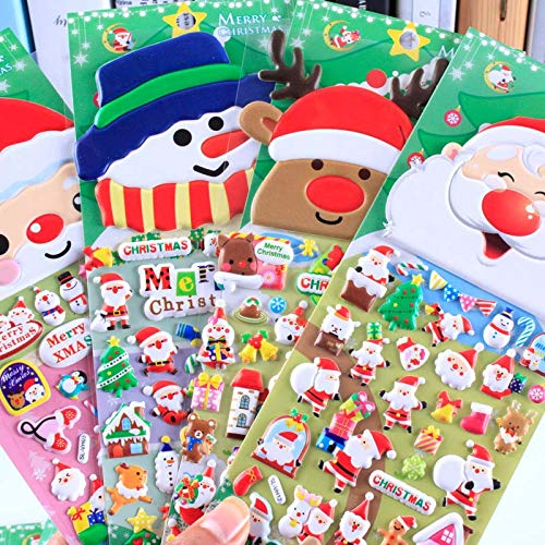 1pc Christmas 3D Carton Bubble Sticker Santa Claus Puffy Stickers Happy New Year Xmas Decor For Kids random