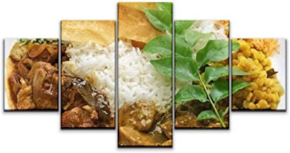 Skipvelo 5 Panels Wall Canvas Prints Pictures, sri Lankan Rice and Curry Dish Wall Paintings Wall Decor Stretched and Framed Ready to Hang