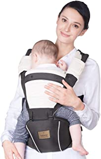 【ベビーアムール】Bebamour 抱っこひも ヒップシート 軽量 通気メッシュ 前向き抱っこ おんぶ 6way ウェストキャリー ベビーキャリア 赤ちゃん 快適(ダークグレー)