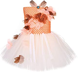 Girls Princess Floral Fall Tutu Dress for Birthday Party Halloween Pageant Tutu Costumes for Kids