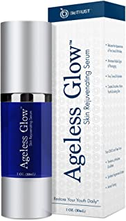 BioTrust Ageless Glow Anti Aging Moisturizer, Skin Brightening Serum with Vitamin C and Hyaluronic Acid, Plant-Based, Naturally Derived Facial Serum 1 fl oz.
