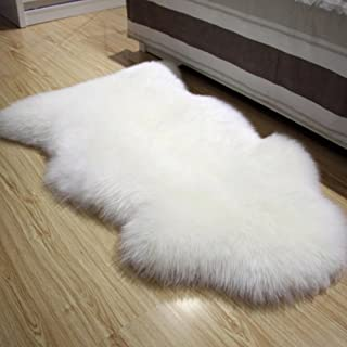 FOLWEP Faux Fur Sheepskin Decorative Rug Couch Chair Cover Seat Pad Plain Shaggy Area Rugs, 23.6 x 35.4 Inch,White