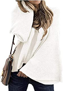 Women Bell Long Sleeve Knitwear Jumper Loose Pullover Knitted Sweater