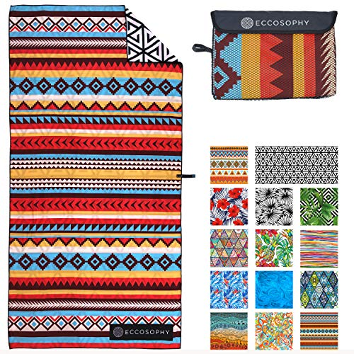 ECCOSOPHY Microfiber Beach Towel - Quick Dry Pool Towels 71x35 inches Oversized Travel Towel - Lightweight Compact Beach Accessories - Large Sand Free Micro Fiber Beach Towels (Cancun)