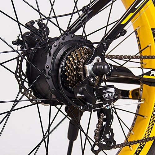 RICH BIT Vélo électrique RT-022 1000W Moteur brushless 48V*17Ah LG li-Battery Smart e-Bike Frein à Double Disque Shimano 21-Speed (Yellow)