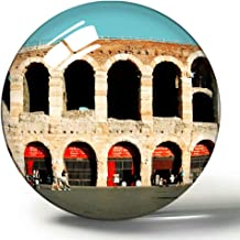 Hqiyaols Souvenir Italia Verona Arena Piazza 3D Imán de Nevera Colección de Recuerdos Viaje Regalo Círculo Cristal Imanes de Nevera